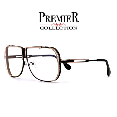 Premier Collection-Full Metal Ultra Suave Squared Off Frame Clear Aviator