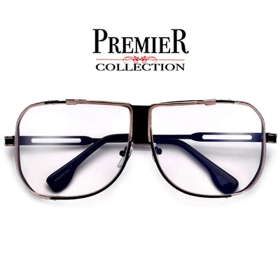 Premier Collection-Full Metal Ultra Suave Squared Off Frame Clear Aviator - Sunglass Spot