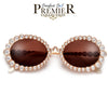 PREMIER BLING BLING COLLECTION-SHINY SPARKLING CRYSTALS ALLURING OVAL SUNNIES - Sunglass Spot