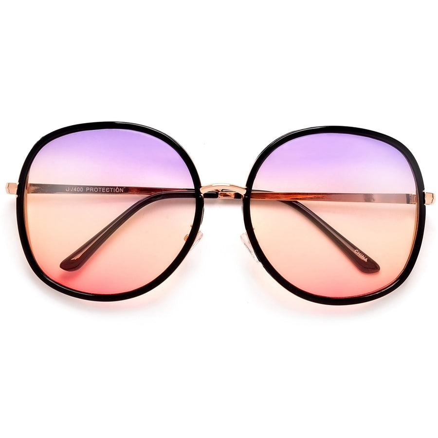 Oversize 67mm Open Temple Round Sunnies