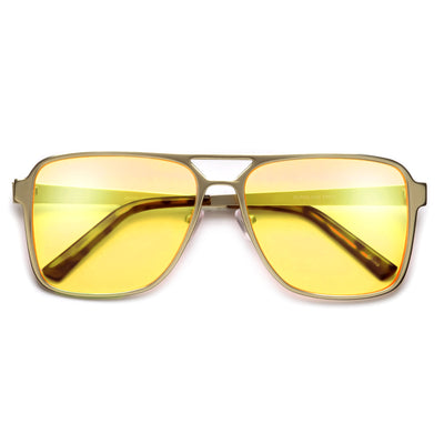 Sporty Full Metal Squared Off Silhouette Sleek Aviator - Sunglass Spot