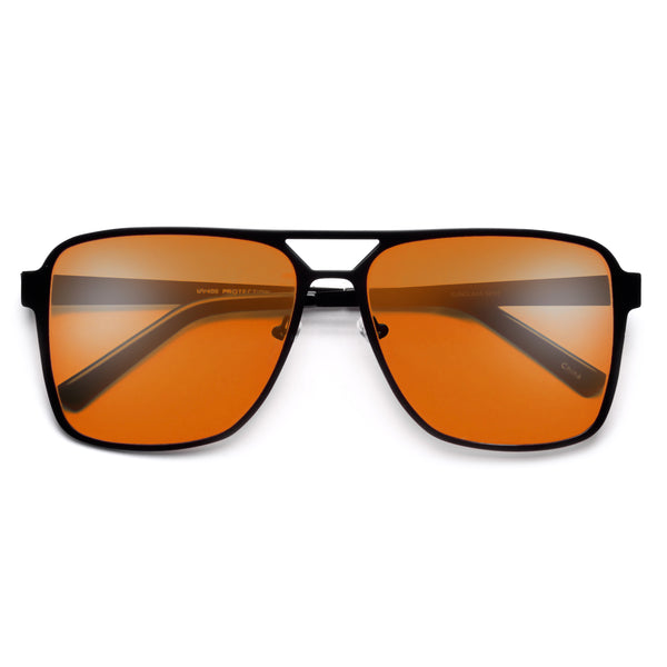 Sporty Full Metal Squared Off Silhouette Sleek Aviator