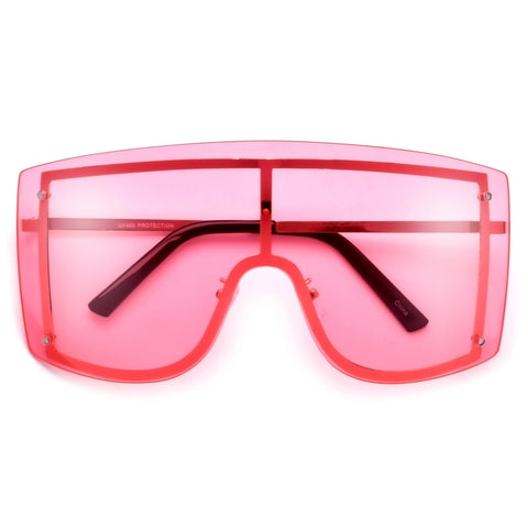 Oversized 71mm Bold Squared Off Visor Inspired Clear Eyewear