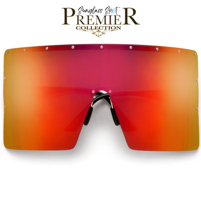 Premier Collection-Oversized Ultra Squared Anti-Glare Polarize Super Shield Sunglasses - Sunglass Spot