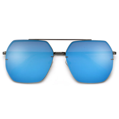 Oversize Squared Geometric Brow Bar Accented Stylish Aviator - Sunglass Spot