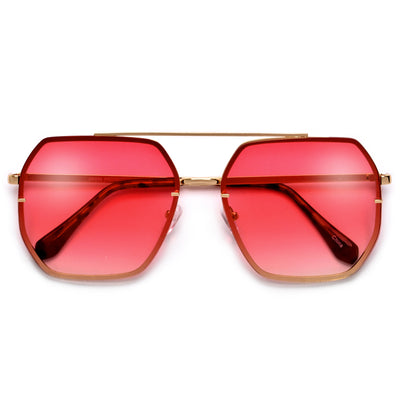 Oversize Squared Geometric Brow Bar Accented Stylish Aviator