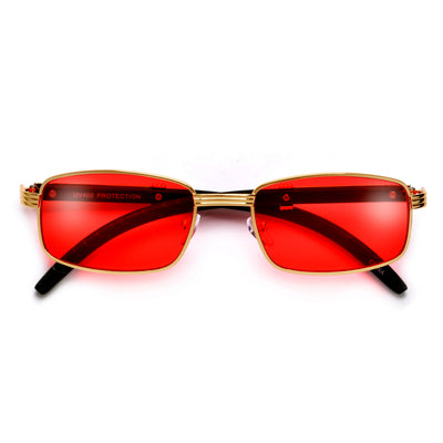 Elaborate Metal Temple Wood Print Squared Frame Colorful Sunnies - Sunglass Spot