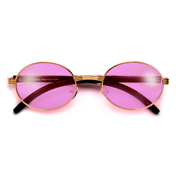 Elaborate Metal Temple Wood Print Round Colorful Sunnies