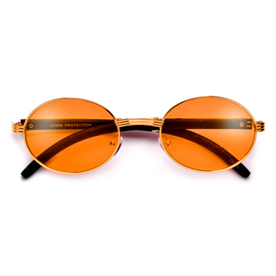 Elaborate Metal Temple Wood Print Round Colorful Sunnies - Sunglass Spot