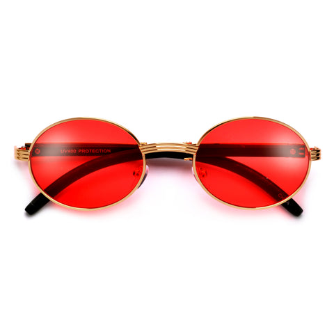 Retro Round Steampunk Inspired Double Bridge Perforated Side Cup Sunglasses