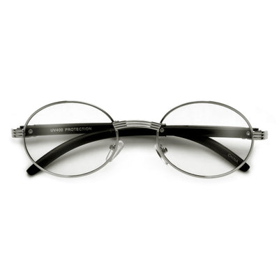 Elaborate Metal Temple Wood Print Round Clear Eyewear