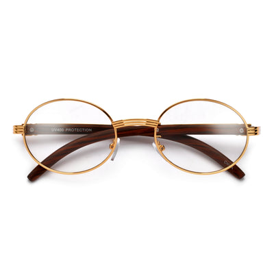 Elaborate Metal Temple Wood Print Round Clear Eyewear - Sunglass Spot