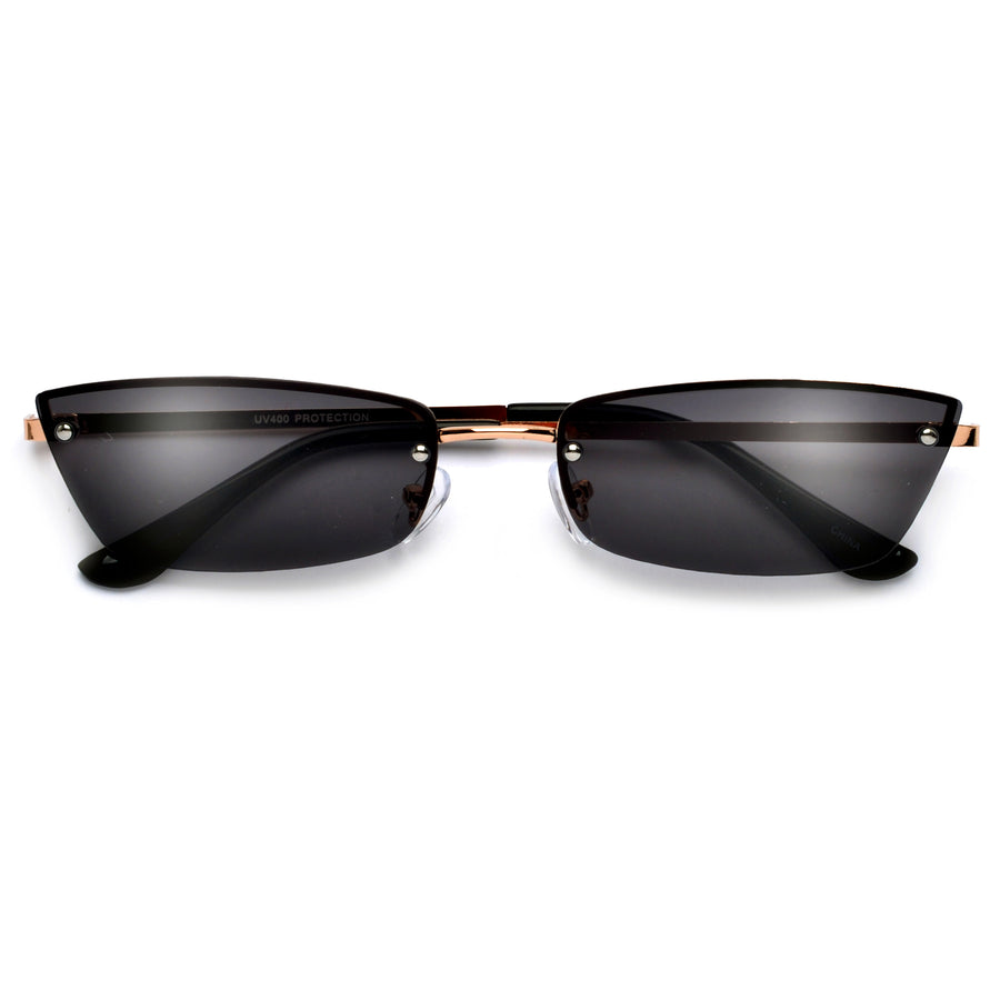 Sleek Rimless Retro Cat Eye Sunnies - Sunglass Spot
