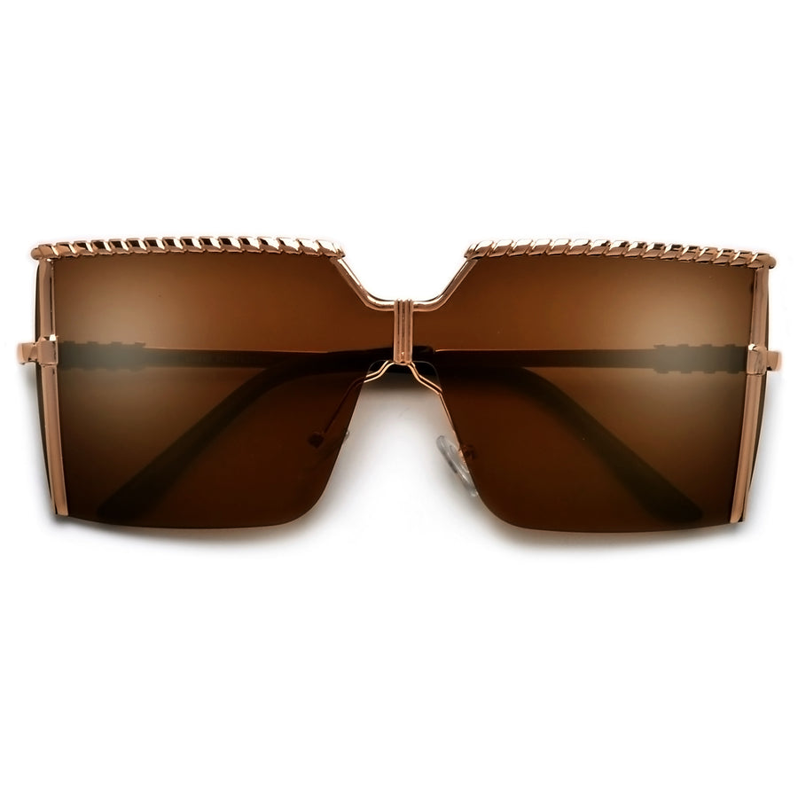 Oversize Semi Rimless Accented Browline Fashion Shield Sunnies