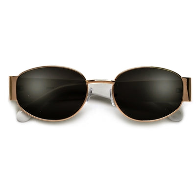 Sleek Oval Thick Temple Minimalist Sunglasses