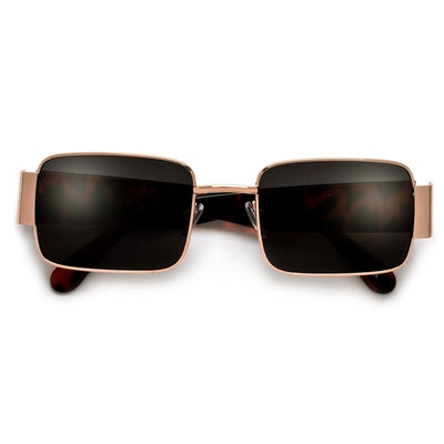 Sleek Rectangular Thick Temple Minimalist Sunglasses - Sunglass Spot