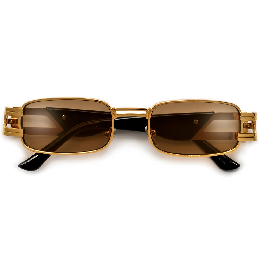 ULTRA SUAVE RECTANGULAR  METAL CUT OUT TEMPLE SUNNIES - Sunglass Spot