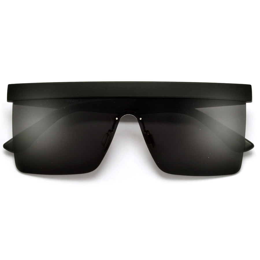 Bold Brow Bar Tops Futuristic Rimless Shield Sunglasses
