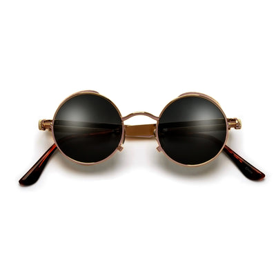 Mini 42mm Steampunk Gothic Round Sidecup  Full Metal Sunglasses - Sunglass Spot