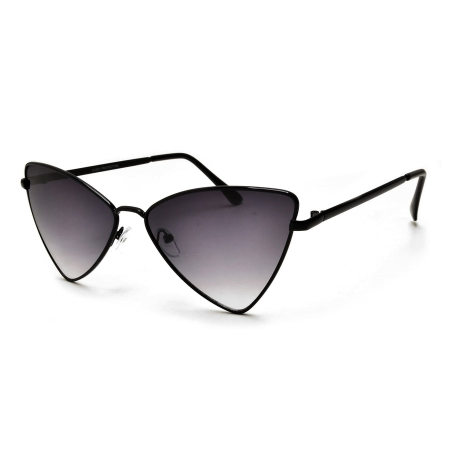 Sleek Sharp Cat Eye Inspired Silhouette Metal Sunnies