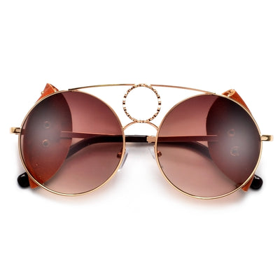 Vintage Round Leather* Side Cup Throwback Sunnies - Sunglass Spot