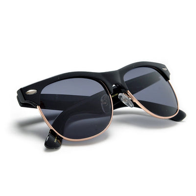 Retro Inspired Round Half Frame Sunglasses