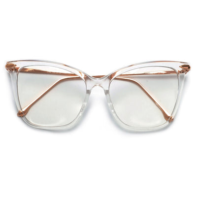57mm Oversize Retro Cat Silhouette Clear Lens Eyewear - Sunglass Spot