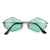 Retro Half Frame Classic Wood Pattern Sunglasses