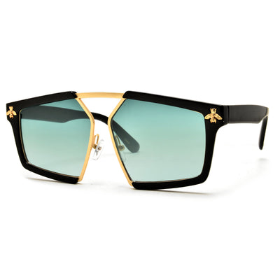 Sleek Geometric Angular Bee Logo Frame Aviator Sunglasses - Sunglass Spot