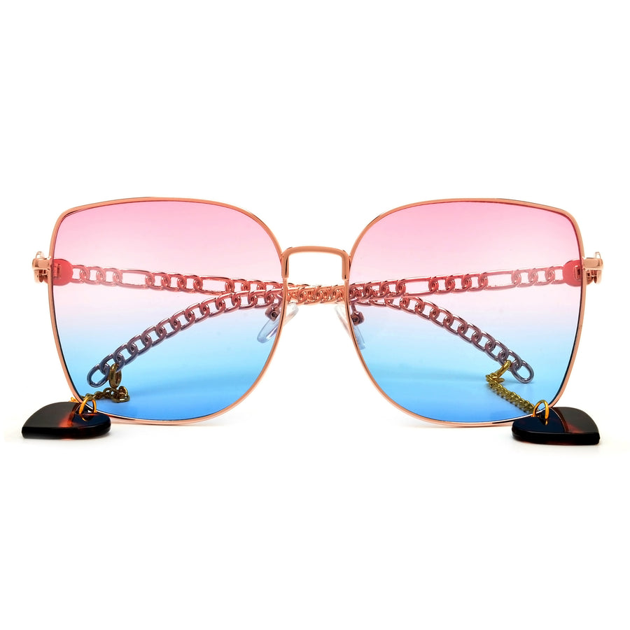 Oversize Women's Squared Earring Dangling Temple Sunnies