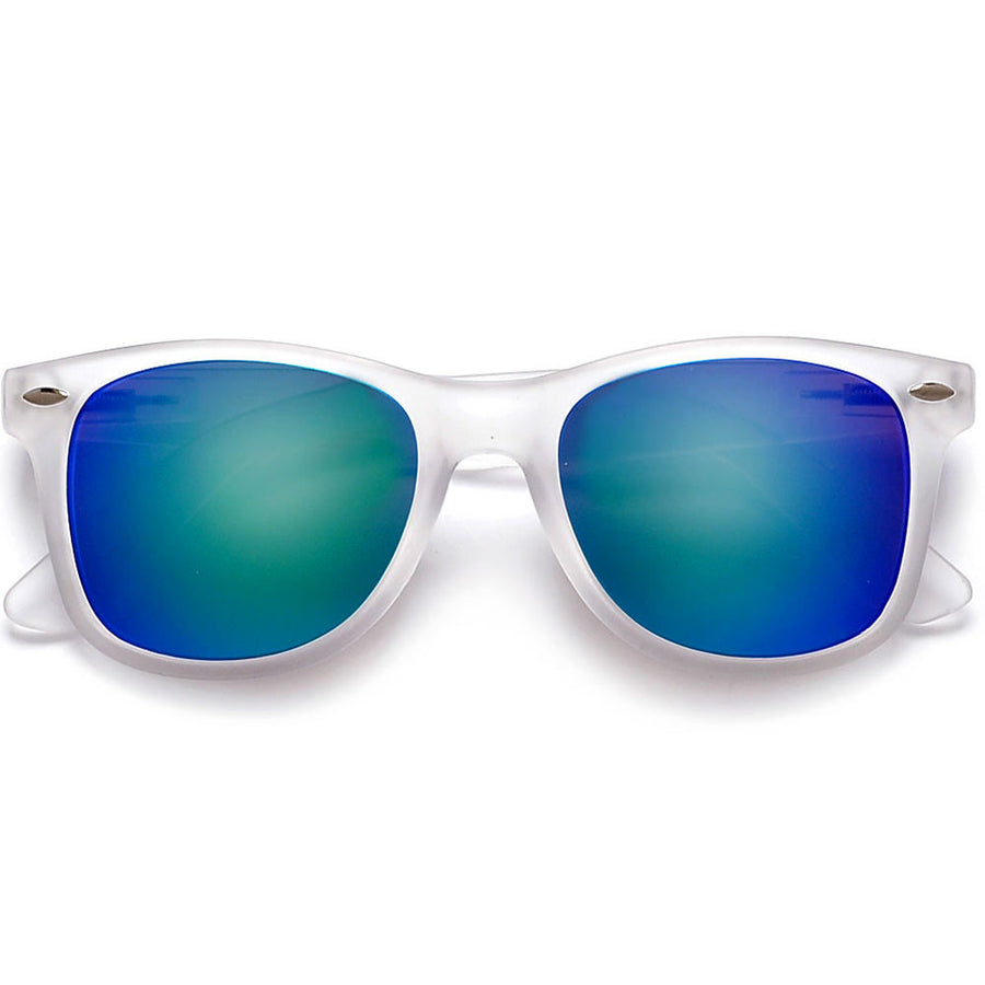 Classic Frost Frame Colorful Revo Lens 80's Sunglasses