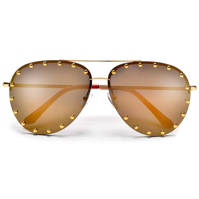 Stunning Studded Decor Aviator - Sunglass Spot