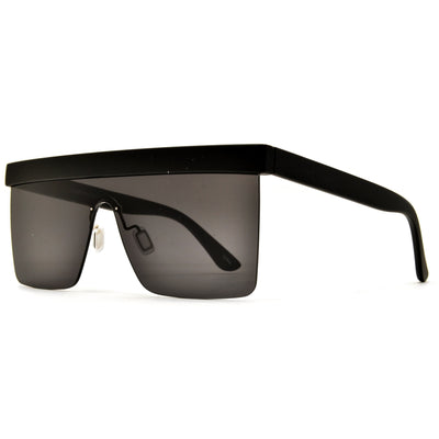 Bold Brow Bar Tops Futuristic Rimless Shield Sunglasses - Sunglass Spot