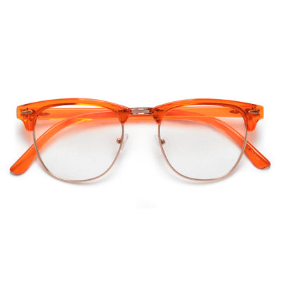 VIBRANT COLORFUL RETRO INSPIRED HALF FRAME SEMI-RIMLESS CLEAR LENS EYEWEAR - Sunglass Spot