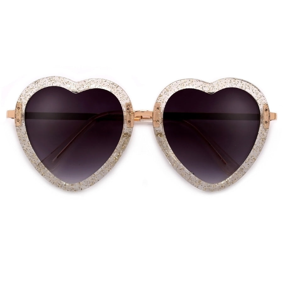 Cute Adorable Glittered Heart Shape Sunnies