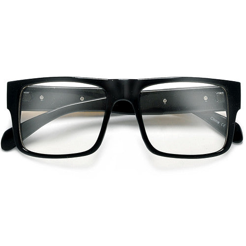 55mm Square Frame Clear Glasses with Metal Watch Link Temples