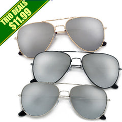 3 Pack Classic Metal Aviator with Reflective Mirrored Lens