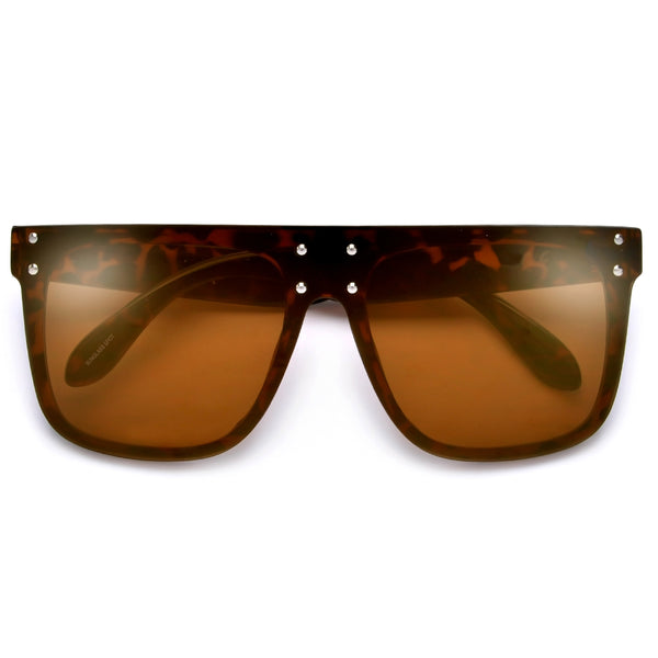 Edgy Single Shield Studded Throw Back Shades
