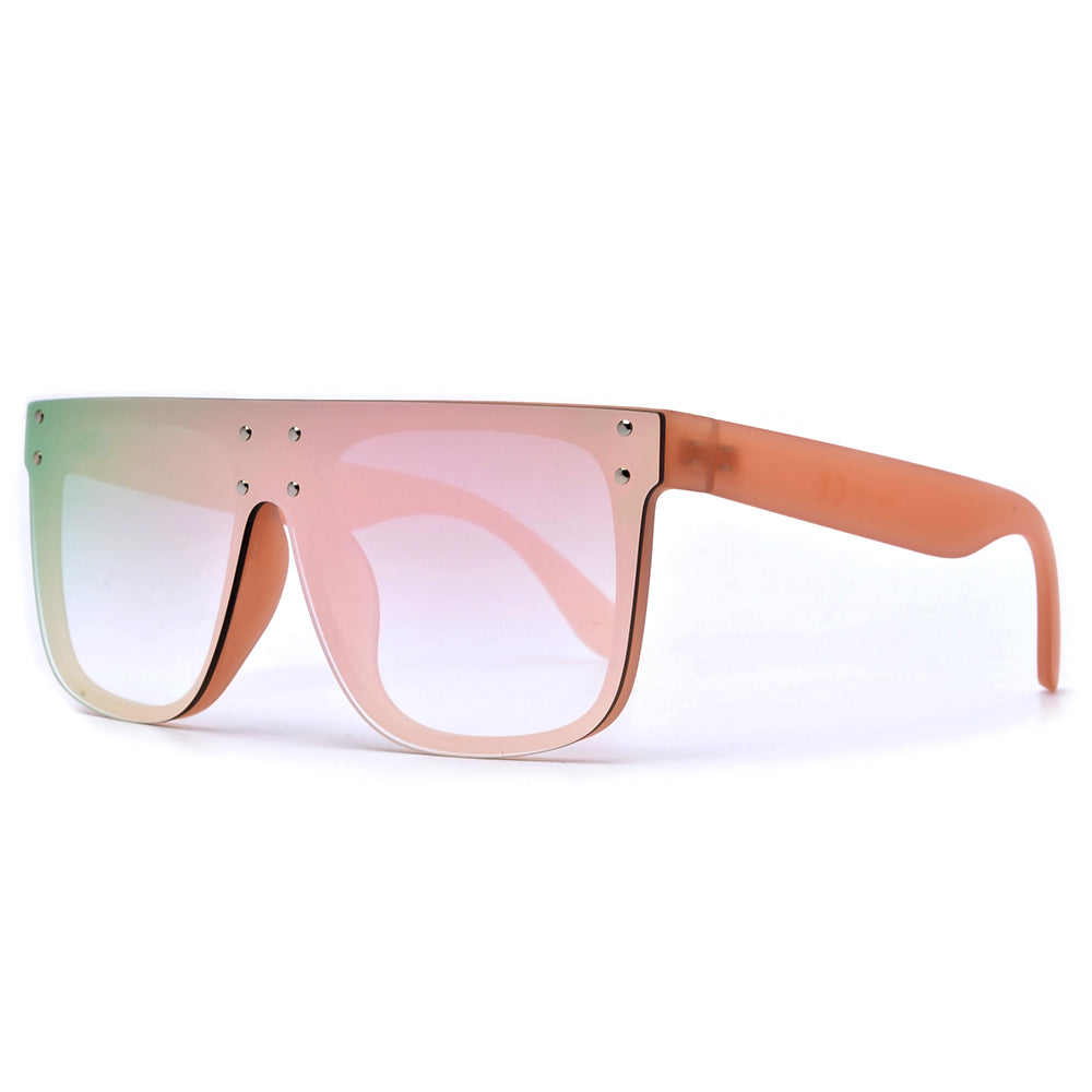 Edgy Single Shield Studded Throw Back Shades - Sunglass Spot
