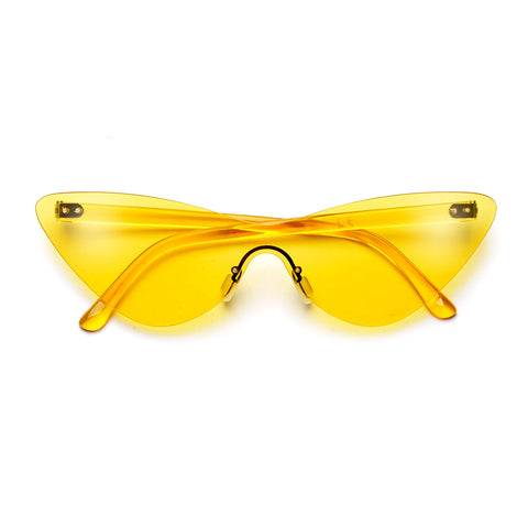 Blocky Exaggerated Cat Eye Glam Sunglasses