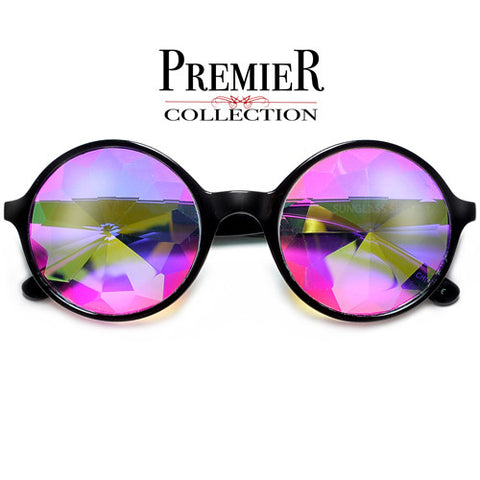Retro Round Crystal Kaleidoscope EDC Rave Glasses