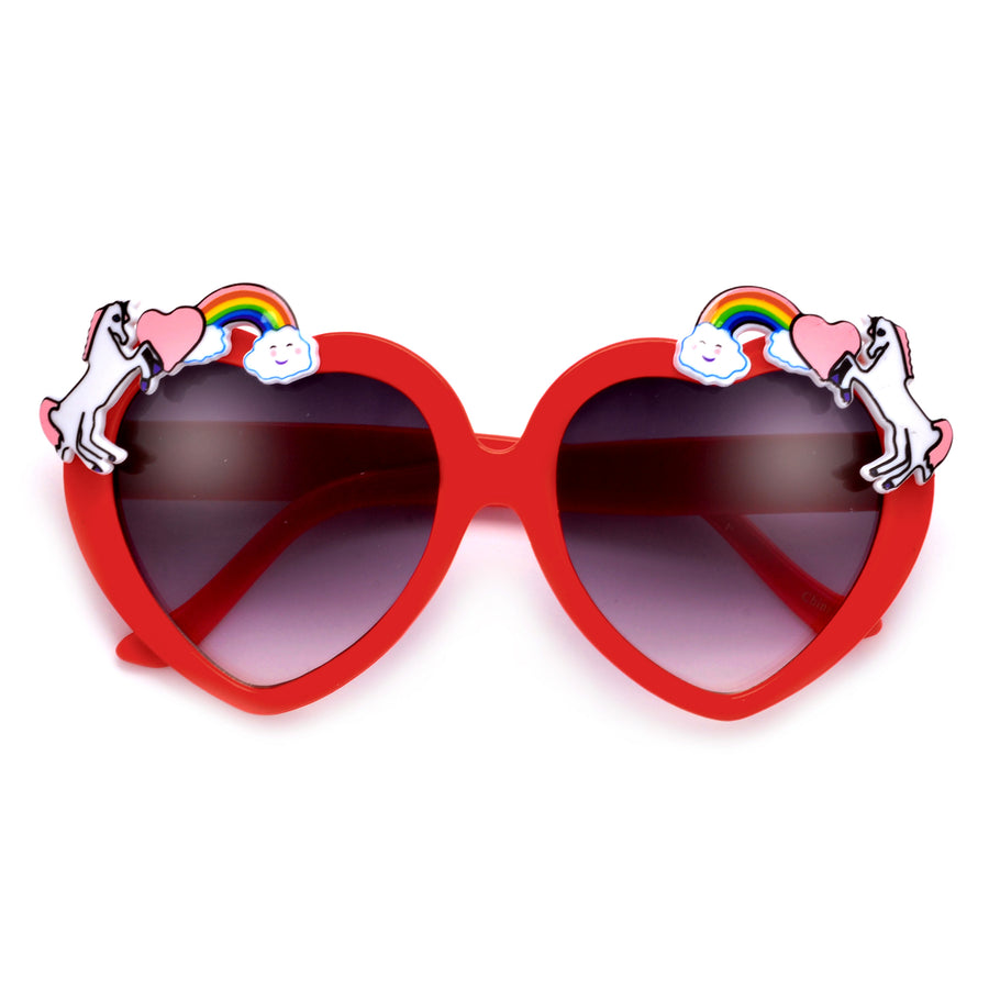 Adorable Unicorn Decorated Heart Sunglasses