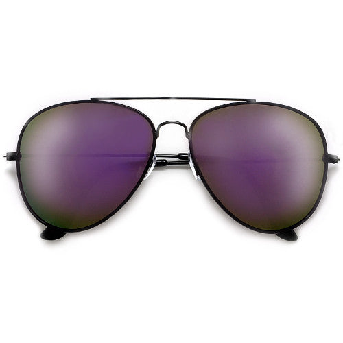 Large 60mm Purple Mirrored Lens Fashion Aviator Sunglasses