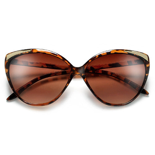Retro 62mm Cat Eye Sunglasses with Metal Tip Brow Accent