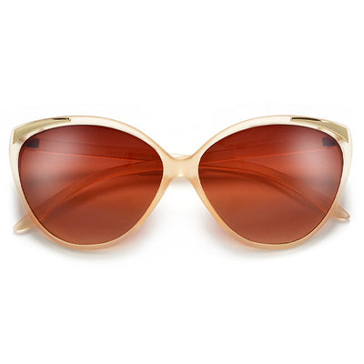 Retro 62mm Cat Eye Sunglasses with Metal Tip Brow Accent - Sunglass Spot