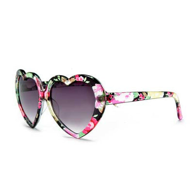 Adorable Floral Decorated Heart Shaped Sunglasses