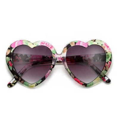 Adorable Floral Decorated Heart Shaped Sunglasses - Sunglass Spot