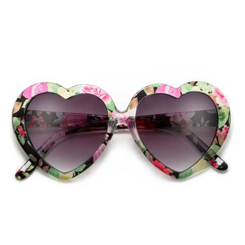 9a1b47159f Adorable Floral Decorated Heart Shaped Sunglasses