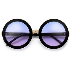 Round Oversized 60's Inspired Thick Metal Bridge Sunnies