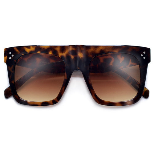 Chunky Thick Studded Flat Top Designer Inspired Sunglasses - Sunglass Spot
